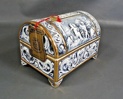 Vtg.italy Baroque Revival Capodimonte Cobalt Porcelain Jewelry Casket Box Angels