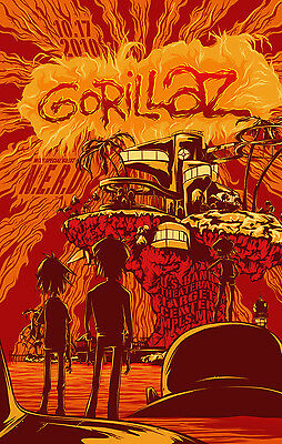 GORILLAZ / N.E.R.D  2010 MINNEAPOLIS CONCERT TOUR POSTER- Damon Albarn, Pharrell