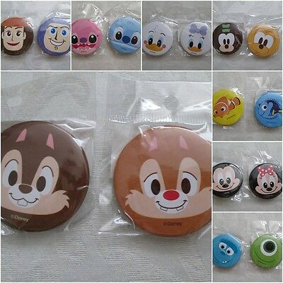 New Disney & Pixiar Round Tin Pin Back Buttons, Mickey, Stitch, Toy Story, Pooh