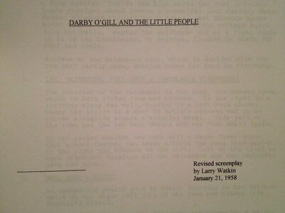 Darby O'Gill And The Little People Disney Albert Sharpe, Janet Munro...Script