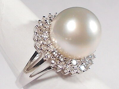 13.4mm South Sea white pearl ring, diamonds, solid 14k white gold.