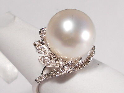 12.4mm South Sea white pearl ring, diamonds, solid 18k white gold.