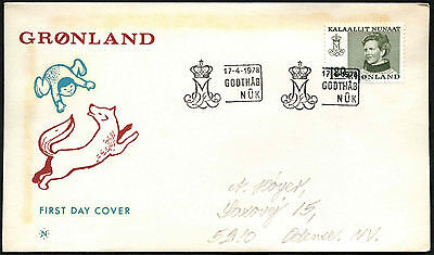 Greenland 1978, 180ore Queen Margrethe Definitive FDC First Day Cover #C41479