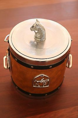 Vintage Tan Ice Bucket Horse Theme and Handle