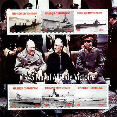 1945 Submarines of World War II Stamp 6 value Sheetlet feat. W.Churchill MINT