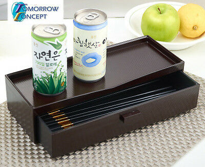 ABS Plastic Chopsticks Box Holder with Drawer and Top storage 275mm (C1222)