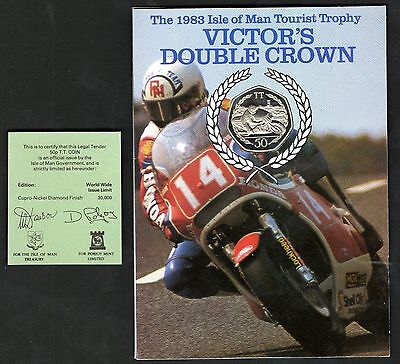 1983 Victor's Double Crown Isle Of Man TT Diamond Finish Large Size 50p In Card