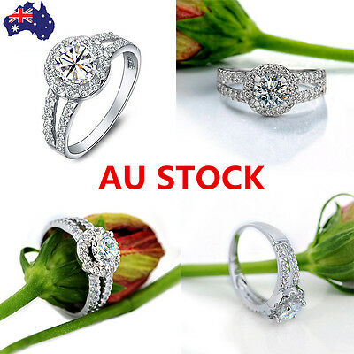 Women 925 Sterling Silver Rings Engagement Wedding Rings Jewelry Size 4.5-6.35