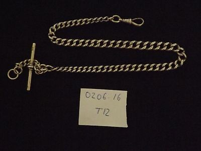 Good Antique Solid Sterling Silver Albert Pocket Watch  Chain