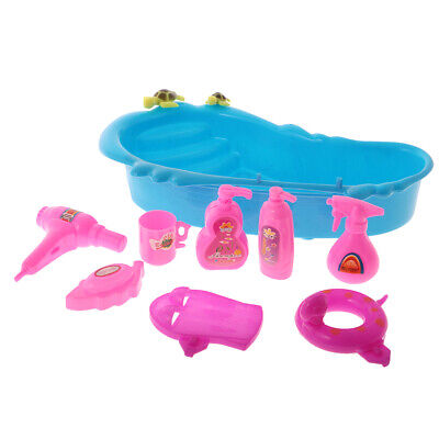 Kid Plastic Bath Tub Set Pretend Role Play Toy Shower Accessories for Barbie