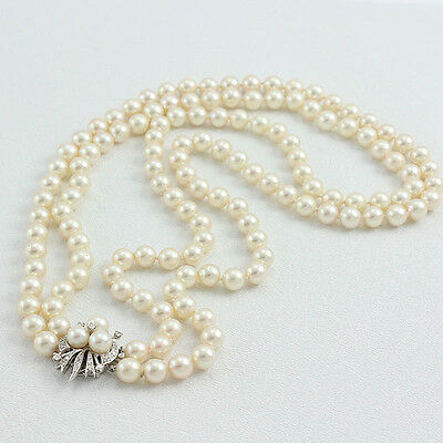 Vintage Double Strand Cultured 7.5mm Pearls 14k White Gold Pearl & Diamond Clasp