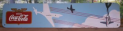 1943 WW-2 Era Coca-Cola Coke Kay Display Masonite Fighter Plane Sign