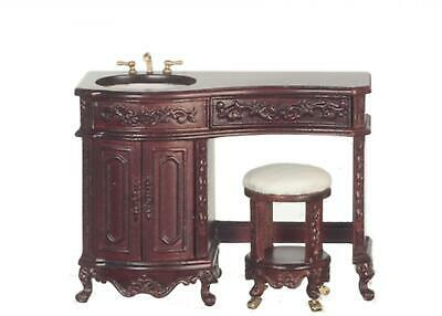 Dolls House Mahogany Avalon Sink & Stool Platinum Collection Bathroom Furniture