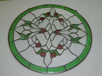 Leaded Stained Glass Window Panel Purple/Green/Clear Hanging Suncatcher 18-1/4""