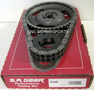 SBC SB Chevy 350 OE Roller Cam .250 Double Roller Timing Chain 3 Keyway SA Gear
