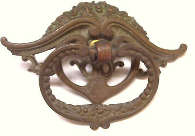 Victorian Cast Brass Drop Ring Drawer Pull Handle One Only