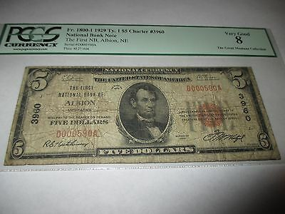 $5 1929 Albion Nebraska NE National Currency Bank Note Bill Ch. #3960 PCGS!