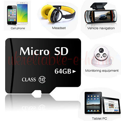64GB Micro SD Card Class 10 TF Card for Phones Mobiles Laptops Computers Cameras
