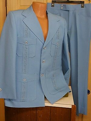 Miami 1960s Sky Blue Embroidered Mexico Wedding Cuba Mens Suit by Cubaverra