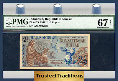 Tt Pk 79 1961 Indonesia 2 1/2 Rupiah Pmg 67 Epq Superb Gem Uncircirculated