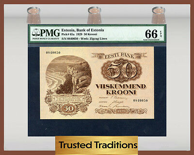 TT PK 65a 1929 ESTONIA BANK OF ESTONIA 50 KROONI PMG 66 EPQ GEM UNCIRCULATED