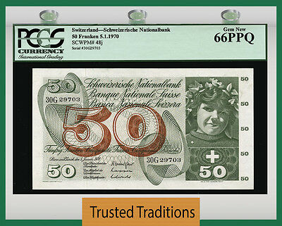 TT PK 48j 1965 SWITZERLAND 50 FRANKEN PCGS 66 PPQ GEM NEW