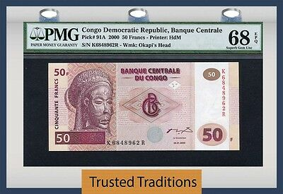 Tt Pk 91A 2000 Congo Democratic Republic 50 Francs Pmg 68 Epq Population One
