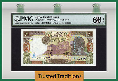 Tt Pk 107 1997-98 50 Pounds Pmg 66 Epq Gem Uncirculated Population 3 None Finer!
