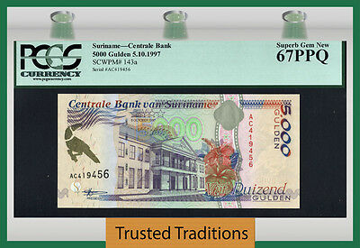 Tt Pk 143 1997 Suriname 5000 Gulden Pcgs 67 Ppq Superb Gem Population One