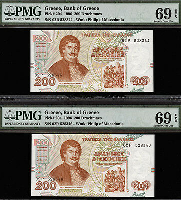 Tt Pk 204 1996 Greece 200 Drachmaes Pmg 69 Epq Superb Gem Unc Set Of Two!!!