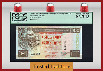 TT PK 204e 2002 HONG KONG 500 DOLLARS IMPOSING LION PCGS 67 PPQ SUPERB GEM NEW