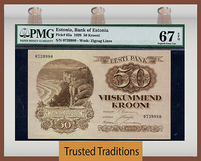 "TT PK 65a 1929 ESTONIA 50 KROONI ""POP TWO"" PMG 67 EPQ SUPERB GEM UNC"