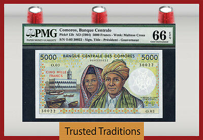 TT PK 12b1984 COMOROS 5000 FRANCS  PMG 66 EPQ GEM UNCIRCULATED NONE FINER