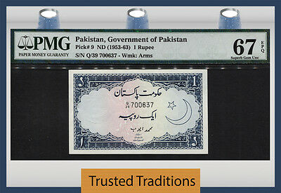 Tt Pk 9 1953-63 Pakistan State Bank 1 Rupee Pmg 67 Epq Superb Gem Unc None Finer