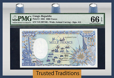 "Tt Pk 9 1985 Congo Republic 1000 Francs ""animal Carving"" ""elephant"" Pmg 66 Epq"