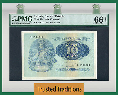 TT PK 68a 1940 ESTONIA BANK OF ESTONIA 10 KROONI PMG 66 EPQ GEM UNCIRCULATED!
