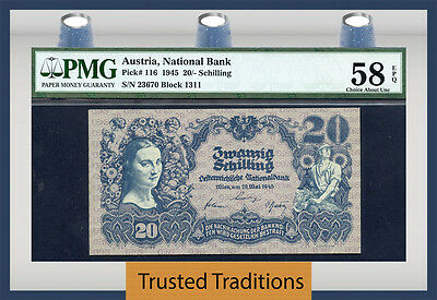 Tt Pk 116 1945 Austria 20/- Shilling Pmg 58 Epq Choice About Uncirculated