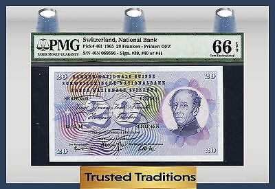 "TT PK 46l 1965 SWITZERLAND 20 FRANKEN PMG 66 EPQ GEM UNCIRCULATED ""POP ONE"""