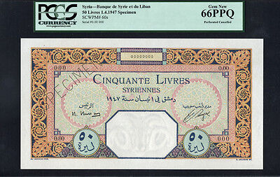 TT PK 60s SYRIA 1947 50 LIVRES RARE SPECIMEN PCGS 66 PPQ GEM NEW ONLY ONE FINER!