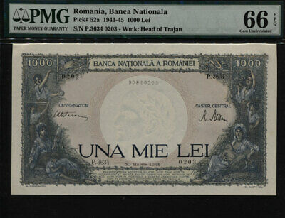 TT PK 52a 1941-45 ROMANIA 1000 LEI PCGS 66 PPQ GEM OVERSIZED NONE FINER KNOWN