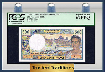 TT PK 25d 1985 TAHITI 500 FRANCS PCGS 67 PPQ SUPERB GEM NEW ONE FINER