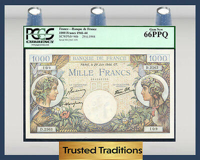 TT PK 96b 1941-44 FRANCE BANQUE DE FRANCE 1000 FRANCS PCGS 66 PPQ GEM NEW!