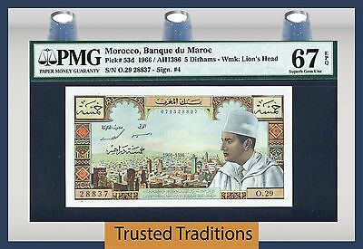 "TT PK 53d 1966 MOROCCO 5 DIRHAMS ""KING MUHAMMAD V"" PMG 67 EPQ SUPERB TOP POP!"