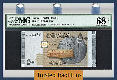 Tt Pk 112 2009 Syria 50 Pounds Horse's Head Pmg 68 Epq Superb None Finer 1 Of 2