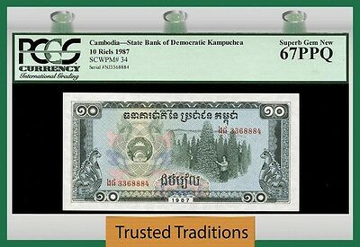 Tt Pk 34 1987 Cambodia 10 Riels Pcgs 67 Ppq Superb Gem Population One