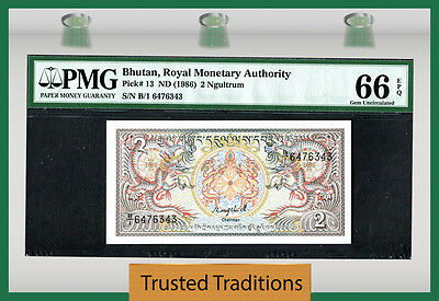 "Tt Pk 13 1986 Bhutan 2 Ngultrum ""dragons"" Pmg 66 Epq Gem Unc Seq Serial # 1 Of 2"