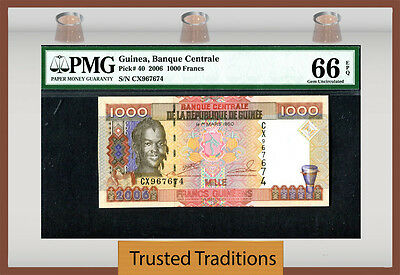 Tt Pk 40 2006 Guinea 1000 Francs Pmg 66 Epq Gem Unc Finest Known!