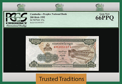 "TT PK 37a 1992 CAMBODIA 200 RIELS ""PEOPLES NATIONAL BANK"" PCGS 66 PPQ GEM NEW!"