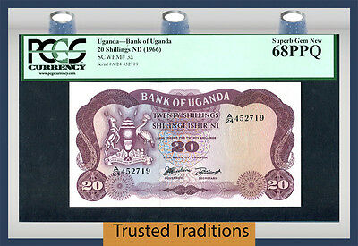 TT PK 3a 1966 UGANDA 20 SHILLINGS PCGS 68 PPQ 2 OF 2 SEQUENTIAL SERIAL NUMBER