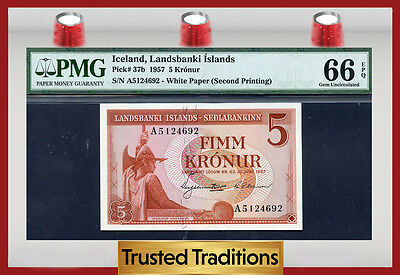 TT PK 37b 1957 ICELAND 5 KRONUR PMG 66 EPQ GEM POP ONE FINEST KNOWN!